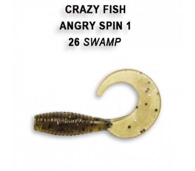 """Силиконовая приманка Crazy Fish ANGRY SPIN 1"""" 20-25-26-6"""