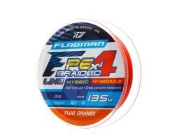 Шнур Flagman PE Hybrid F4 135m FluoOrange 0,06mm. 2,7кг/6lb