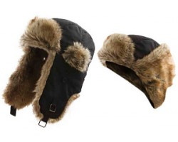 Шапка Alaskan с меховой отделкой черная (B346)