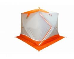 Палатка зимняя куб Пингвин Призма Премиум 2слоя цвет бело оранжевый