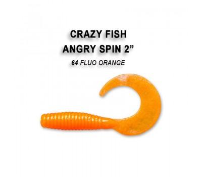 """Силиконовая приманка Crazy Fish ANGRY SPIN 2"""" 21-45-64-6"""